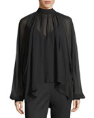 Dolman Sleeve Button-Back Silk Chiffon Top