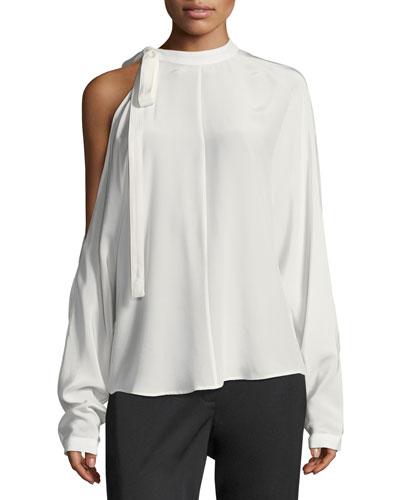 Cold-Shoulder Long-Sleeve Silk Top