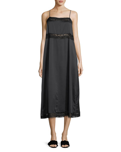 Square-Neck Silk Slip Dress w/ Lace Trim