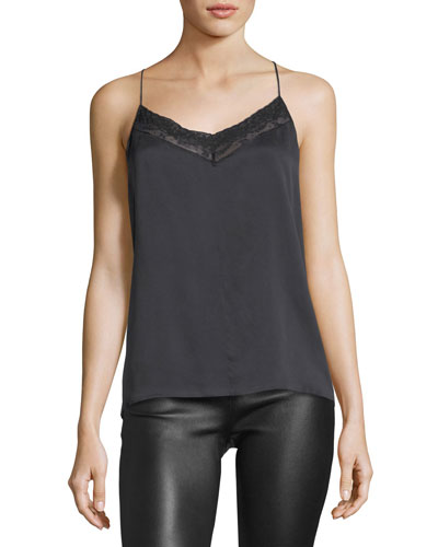 V-Neck Crossover-Back Silk Top w/ Lace Trim