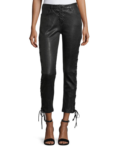 Lace-Up Crop Lamb Leather Pants