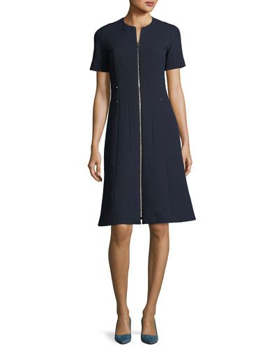Sonya Short-Sleeve Zip-Front Wool Crepe Dress, Plus Size