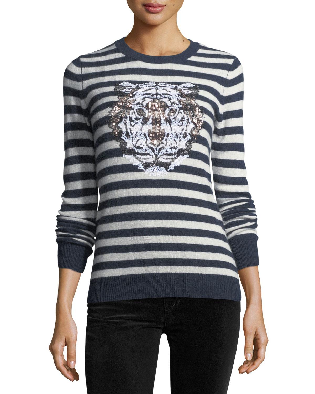 Striped Sequin Tiger Crewneck Cashmere Sweater