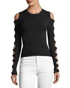 Slash-Sleeve Crewneck Sweater
