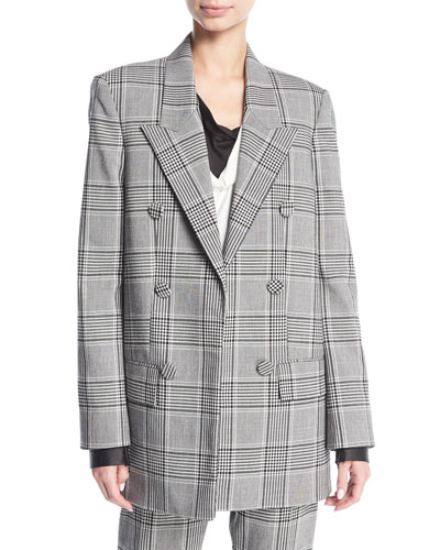 Plaid Double-Breasted Blazer