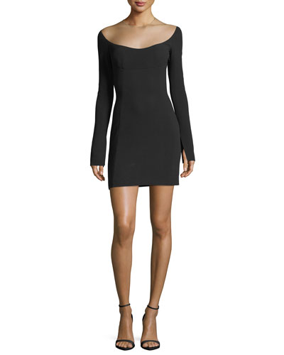 Illusion Scoop-Neck Long-Sleeve Minidress