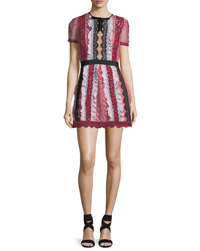Bellis Paneled Lace-Trim Mini Dress