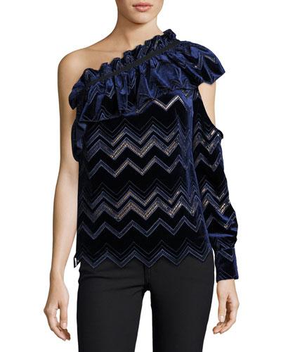 One-Shoulder Zigzag Embroidered Velvet Top