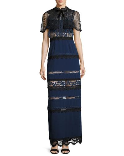 Bellis Lace Crepe Cape Maxi Dress
