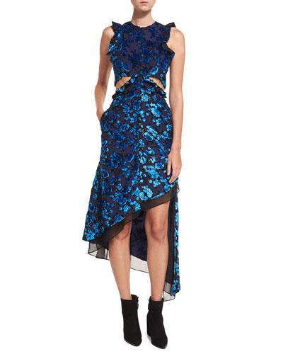 Floral Devore Velvet Sleeveless Cutout Asymmetric Dress