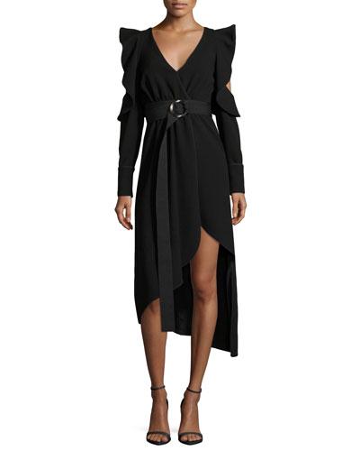 Asymmetric Belted Faux-Wrap Crepe Dress w/ Cutouts
