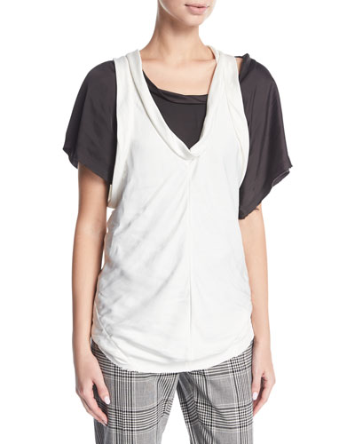 Paneled Bias-Cut Tank Top