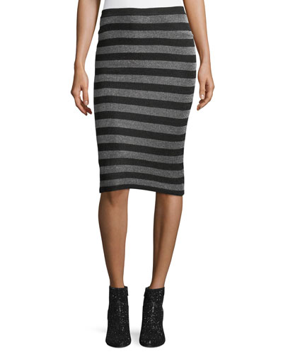 Lurex Striped Knit Pencil Skirt