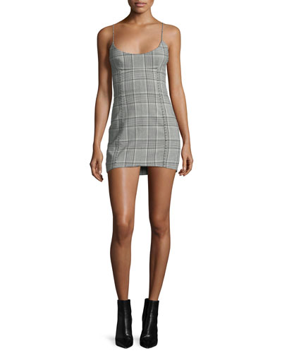Plaid Scoop-Neck Minidress