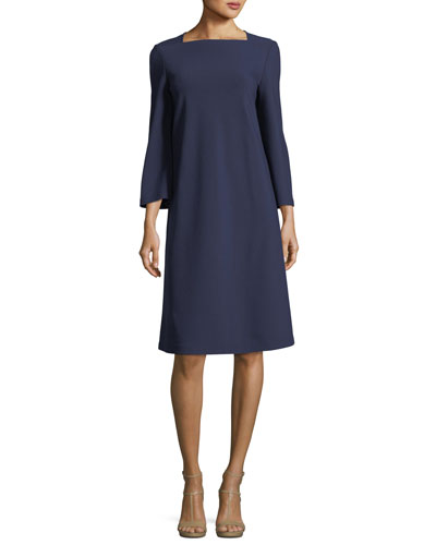 Square-Neck Punto Milano Flared Dress, Plus Size