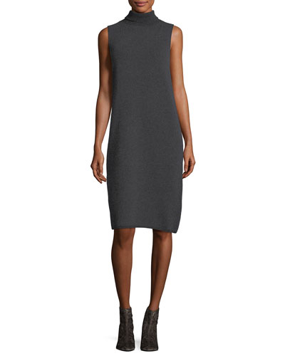 Vanise Sleeveless Superfine Wool Sweaterdress , Plus Size