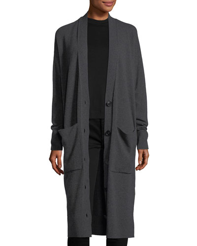 Long Button-Front Merino/Cashmere Cardigan, Plus Size