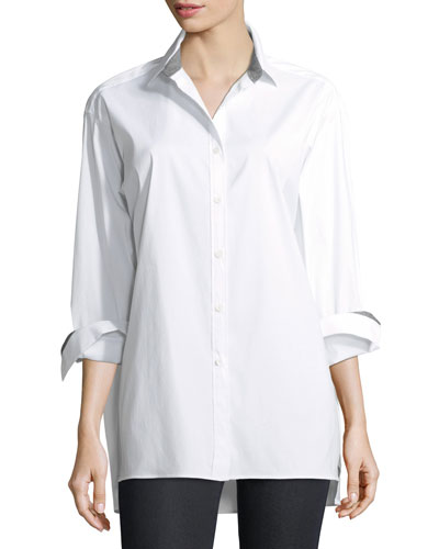 Jessie Long-Sleeve Stretch-Cotton Blouse, Plus Size
