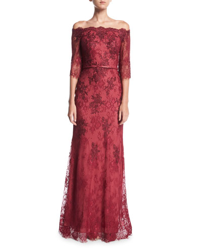 Off-the-Shoulder Elbow-Sleeve Lace Evening Gown