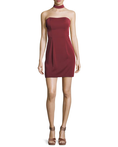 Choker Strapless Fitted Mini Cocktail Dress