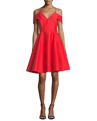 Cold-Shoulder V-Neck Silk Faille Cocktail Dress
