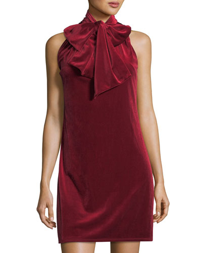 Tie-Neck Velvet Shift Dress