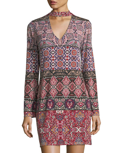 Printed Cutout Shift Dress