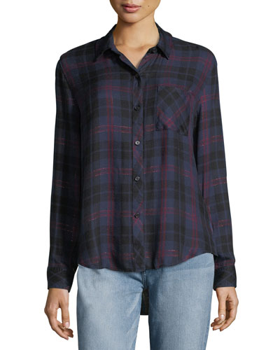 Hunter Button-Front Plaid Shirt with Metallic
