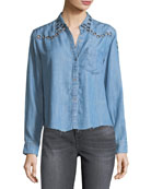 Clayton Button-Front Chambray Shirt w/ Grommets