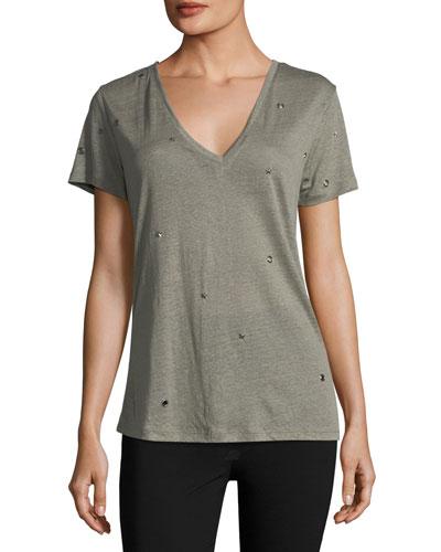 Cara V-Neck Linen-Blend Shirt with Studs