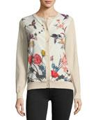 Floral-Print Silk-Panel Cardigan