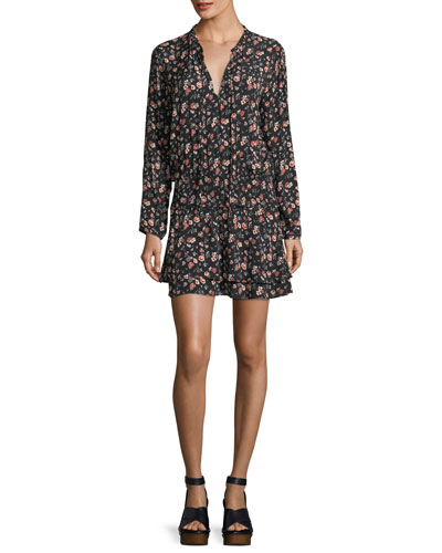 Romee Split-Neck Floral-Print Short Dress