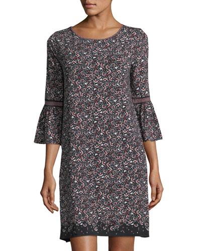Printed Matte Jersey Bell-Sleeve Dress