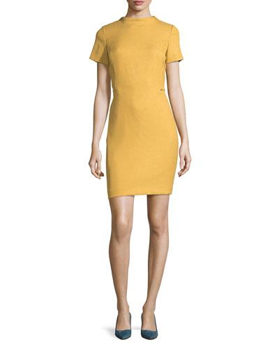 High-Neck Short-Sleeve Woven Sheath Dress