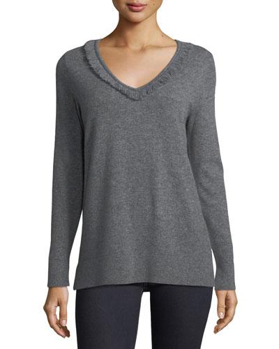 Cashmere Fringe-Trim Sweater