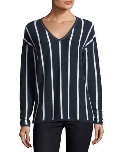 Chain-Trim Striped Cashmere V-Neck Sweater