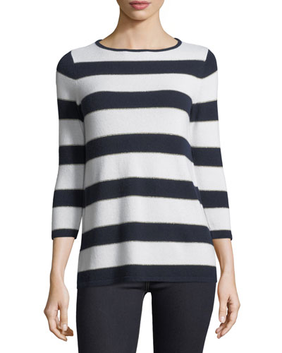 Cashmere-Blend Striped Sweater