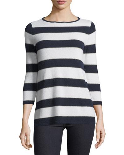 Cashmere-Blend Metallic Striped Sweater