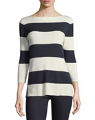 Silk-Cashmere Blend Striped Sweater