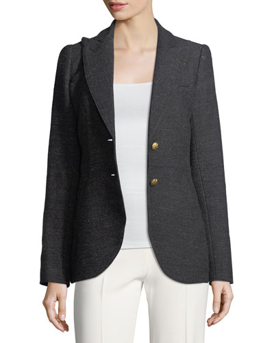 Single-Breasted Herringbone Wool Riding Blazer