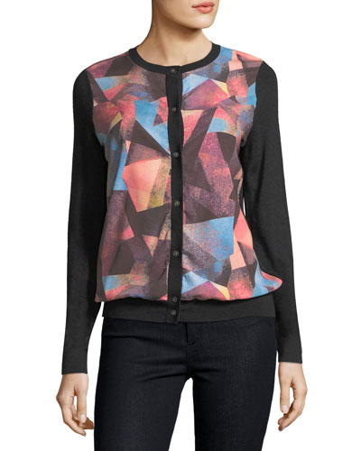 Cashmere Geometric-Print Cardigan