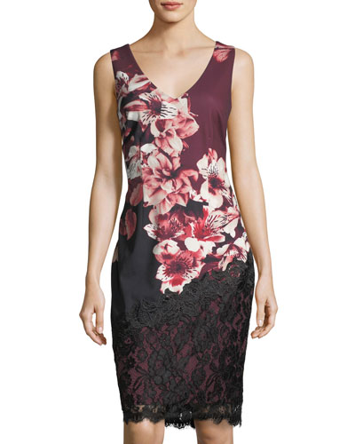 Lace-Trim Floral-Print Sheath Dress