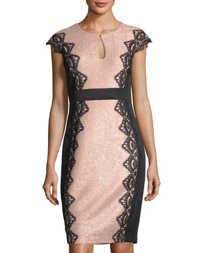 Lace-Trim Keyhole Sheath Dress