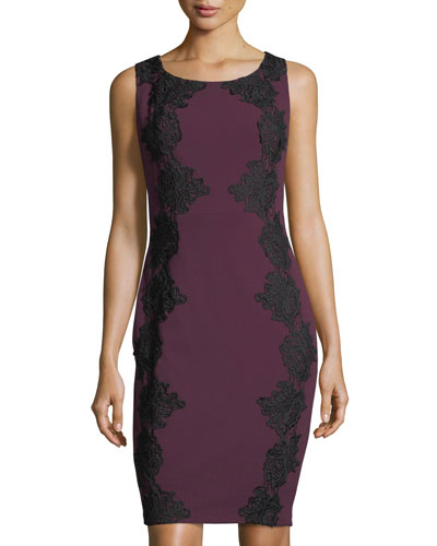 Lace-Appliqué Crepe Dress