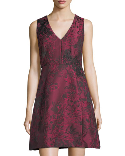 Floral Jacquard Fit & Flare Dress