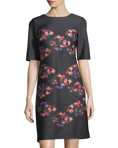 Floral-Print Half-Sleeve Shift Dress