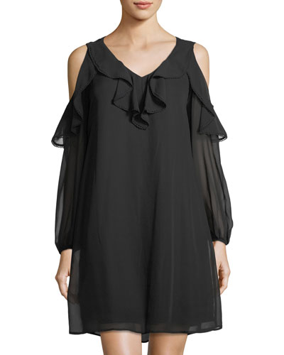Chiffon Cold-Shoulder Dress