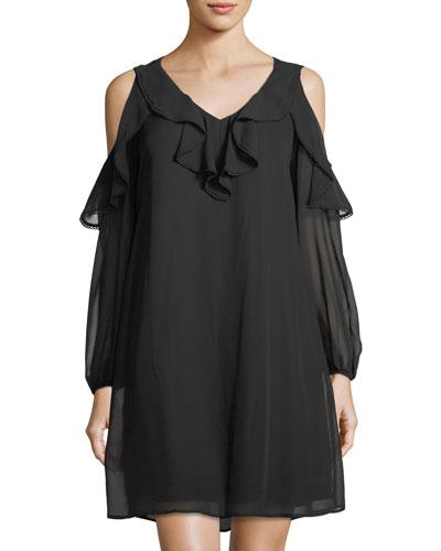 Chiffon Cold-Shoulder Dress