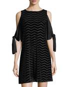 Burnout-Velvet Cold-Shoulder Dress