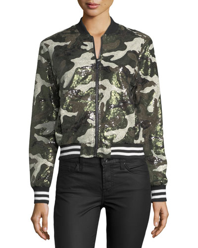 Sequined Camouflage Bomber Jacket